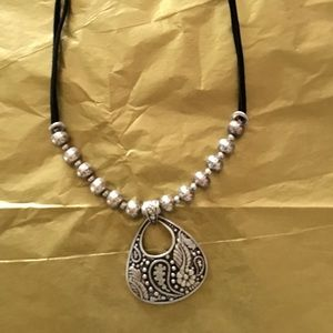 Coldwater Creek silver and black pendent